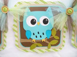 owl banner baby shower banner its a boy blue brown green
