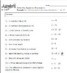 translating verbal expressions into algebraic expressions worksheets written expression worksheets mediafoxstudio