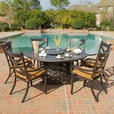 6 Person Patio Dining Set - avondale 6 person aluminum patio fire pit dining set by lakeview