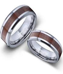 his and wedding rings and hers tungsten and koa wood wedding rings