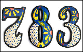 Address Home Decor Painted Metal Address Numbers Decorative House Throughout