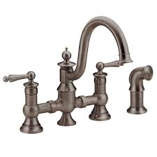 Old Kitchen Faucets Moen Waterhill 2 Handle High Arc Side Sprayer Bridge Kitchen