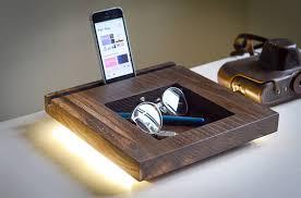 Charging Station Desk Docking Station Table Lamp Dock270 Handmade Minimal Oak