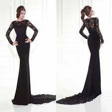 black long sleeve evening dresses lace mermaid sweep train