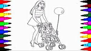 coloring pages barbie chelsea stroller coloring book