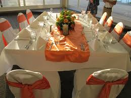 Chair Covers By Sylwia Couple Wants White Floor Length Table Linens Orange Table Runner