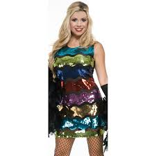 Roaring 20s Halloween Costumes Womens Rainbow Sequin Roaring 20 U0027s Flapper Dress Costume Walmart
