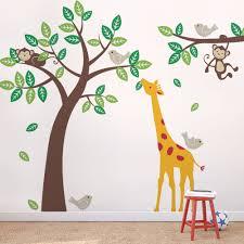 Nursery Tree Wall Decal by Tree Wall Decal With Monkeys Giraffe And Birds