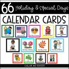 66 special days calendar cards by color me kinder tpt