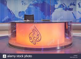 a news anchor u0027s desk and chair at al jazeera english television