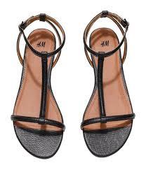 black sandals h u0026m strappy sandals in black lyst