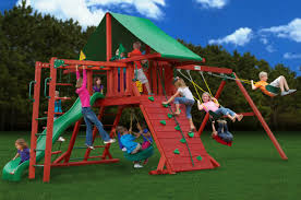 Gorilla Playsets Catalina Wooden Swing Set Furniture Swing And Slide Knightsbridge Wooden Playsets For Kids