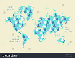 Happy Maps World Map Triangle Pattern Merry Christmas Stock Vector 740515522