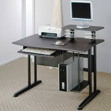 furniture narrow small computer desk with multiple shelves and a