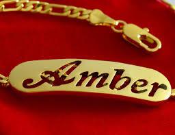 gold amber bracelet images Name bracelet amber 18k yellow gold plated jpg