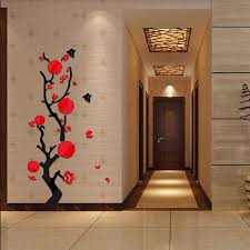 home decor 3d stickers 2017 new wall stickers acrylic mirror plant flower diy sticker
