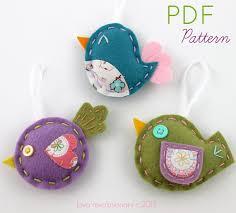 felt bird ornaments digital pattern sewing pattern pdf pattern