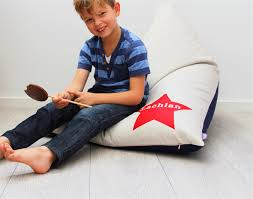 personalised kids bean bag red star honeysuckle and lime