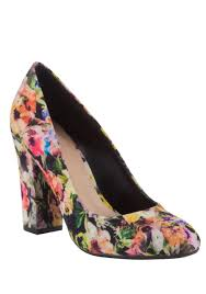 womens boots tesco clothing at tesco f f floral block heel court shoes shoes