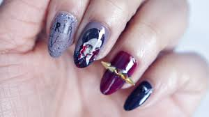 halloween wednesday addams nail art youtube