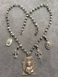 sterling silver rosary necklace images Labradorite rosary chain necklace with sterling silver saints jpg