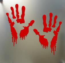 bloody zombie red hand print car truck vehicle window winscreen