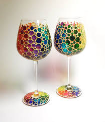 two multi colored bubbles wine gl hand painted by artmasha