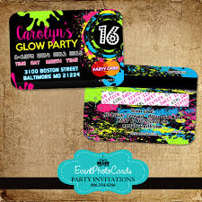 Sweet 16 Birthday Invitation Cards Glow Party Sweet 16 Credit Card Sweet Sixteen Pinterest