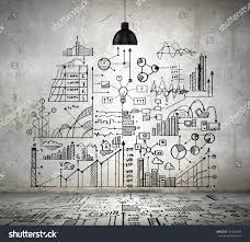 sketch drawing ideas on wall collage stock photo 151607960