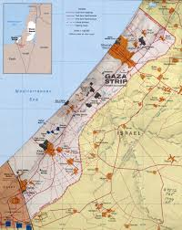 Map Of The Strip Large Detailed Political Map Of Gaza Strip With Relief Roads