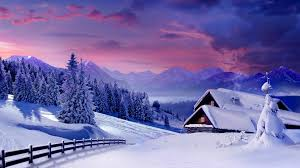 winter clouds cottages pink mountain landscape cabins nature