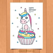 birthday card with cute unicorn and cupacke vector free download