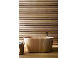 vasche da bagno legno 18 parete in legno rivestimento lamelle vasca da bagno foto