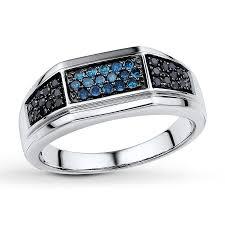 jareds wedding rings jared men s diamond ring 3 8 ct tw blue black sterling silver