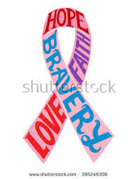 ribbon with words encourage lettering cancer ribbon symbol inspirational stock