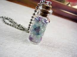 purple gemstone necklace images Fluorite gemstone chips 2ml glass vial glass bottle pendant jpg