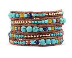 beaded bracelet leather images Turquoise stone with leather gold beads bracelet chakras store jpg