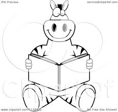 cartoon clipart of an outlined zebra sitting and reading black