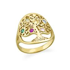family birthstone rings family tree jewelry birthstone ring with gold plating