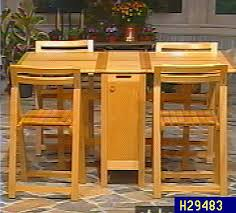 collapsible dining table w 4 chair storage compartment u2014 qvc com