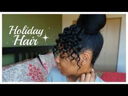 curly hair in high bun with bang how to faux crochet bangs and bun tutorial on short natural hair