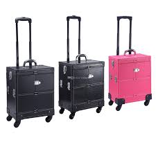 professional makeup artist bags make up box luggage carrier pu storage box with makeup bag trolley
