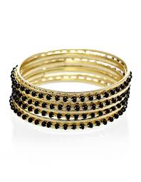 gold bangle bracelet set images Black bead bangle bracelet set cleo jpg