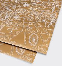 Map Wrapping Paper London Gold Metallic Map Gift Wrap By Michael A Hill U2013 Lagom Design