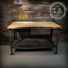 vintage kitchen work table vintage industrial steel frame work bench table w beautiful butcher