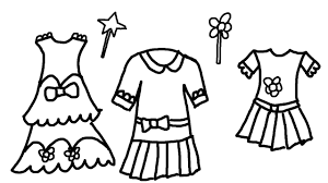 coloring page of pretty dresses for children to learn colors youtube