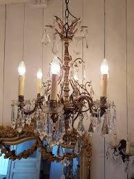 Bobeche For Chandelier Small Bronze Chandelier With Six Lights Crystal And Bobeche Cups