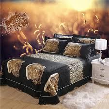 Leopard Print Duvet 3d Crouching Leopard Printed Cotton 4 Piece Bedding Sets Duvet