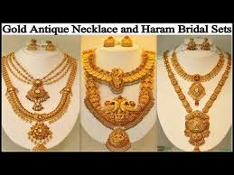 antique necklace set images Latest gold antique necklace and haram bridal set designs jpg