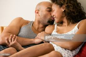 Kiss In Bed Mid Couple Kissing On Bed Stock Photo Getty Images